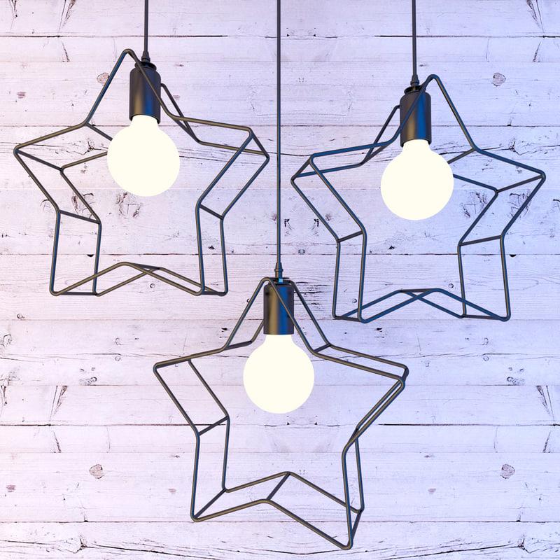 star pendant lamp lights 3D model