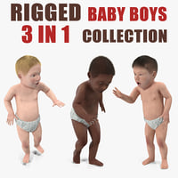 3D small baby boys rigged