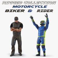 Rigged Biker and Motorcycle Rider 3D Models Collection