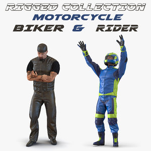 rigged biker motorcycle rider 3D model