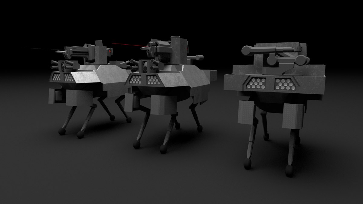 3D quadruped robot war model
