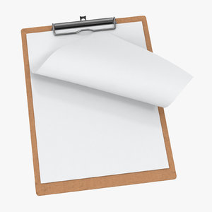 3D model paper sheets clipboard 01
