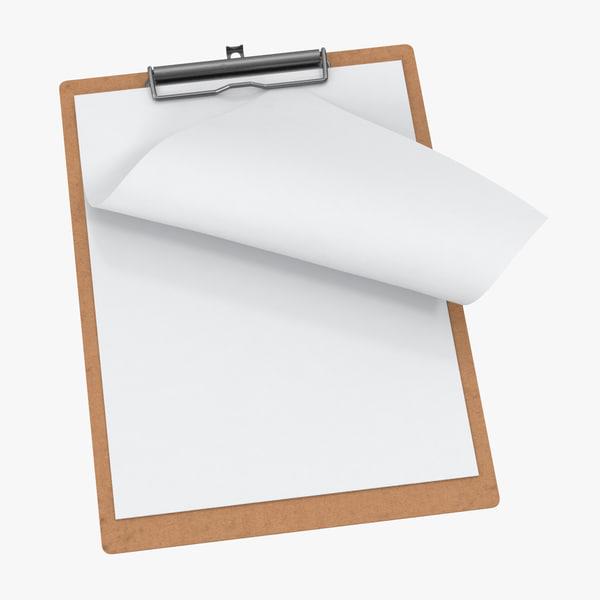 3D model paper sheets clipboard 01