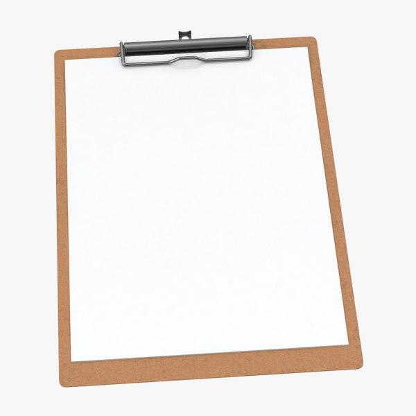 paper sheets clipboard 02 3D model