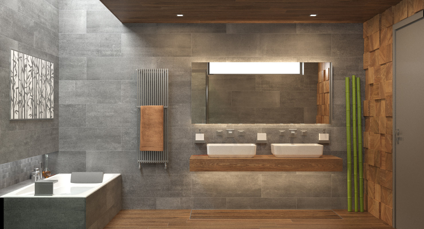 photorealistic bathroom interior scene model