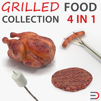 grilled camping food 3D