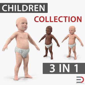 children african american 3D model