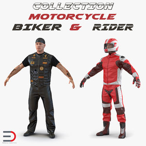 3D biker motorcycle rider man model