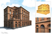 old buildings facade 3D model