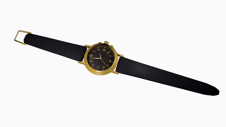 3D gold watch wristwatch