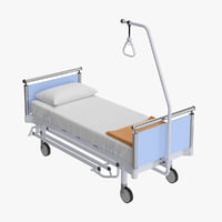 3D model realistic hospital medical bed