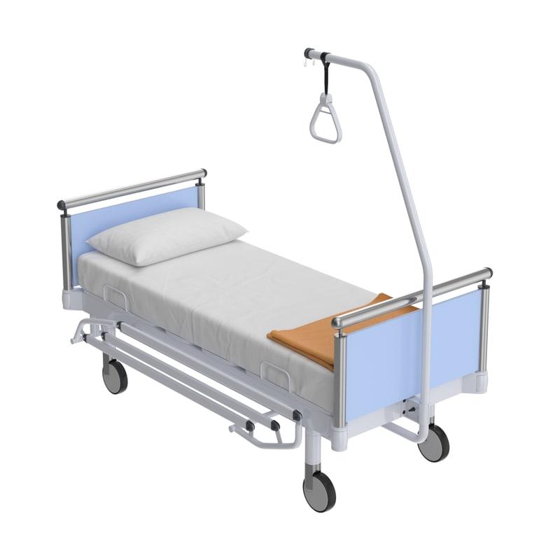 3D model realistic hospital medical bed