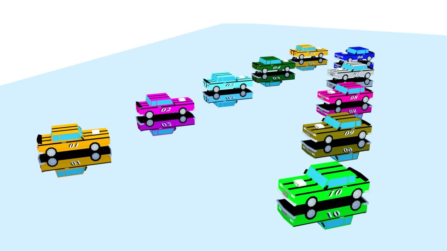 racing cars 10 3D model