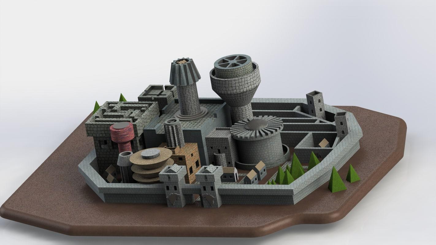 winterfell castle thrones games model