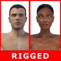 3D realistic man woman rigged model