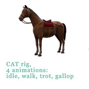 horse saddle animations 3D model