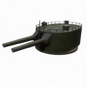 3D coastal artillery 305 mm model