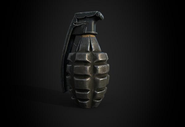 3D mk2 ww2 grenade