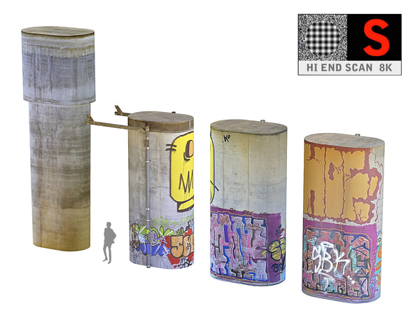 concrete pillar pack 4 3D model