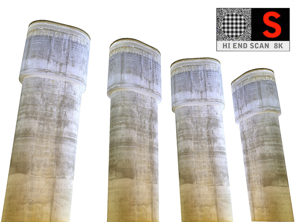 3D concrete pillar 8k