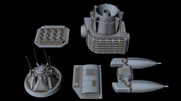3D starship greeble 5 model