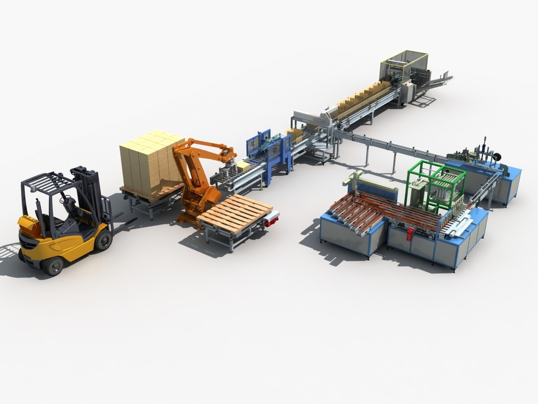 automatic production packing line 3D model