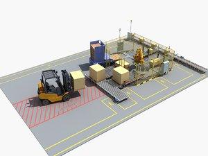 3D model palletizing cell scene 02