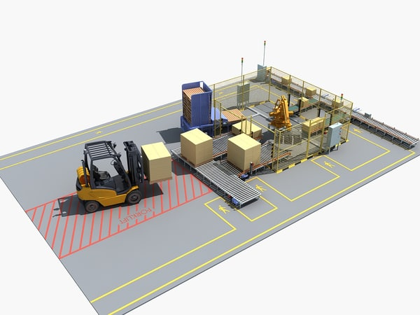 3D model palletizing cell scene 02