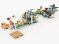 Automatic sealing and packing line