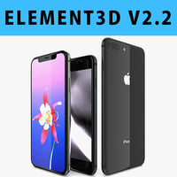 E3D - Apple iPhone 8 + 8 Plus + X Space Gray 3D model
