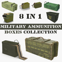 3D military ammunition boxes model