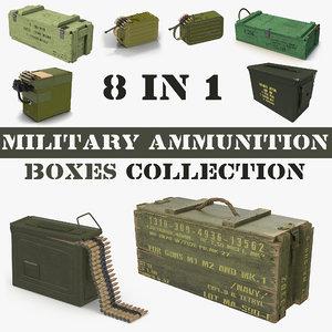 3D military ammunition boxes model