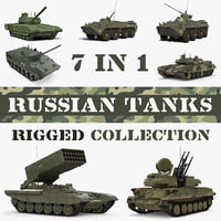 3D rigged russian tanks model