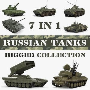 3D rigged russian tanks model