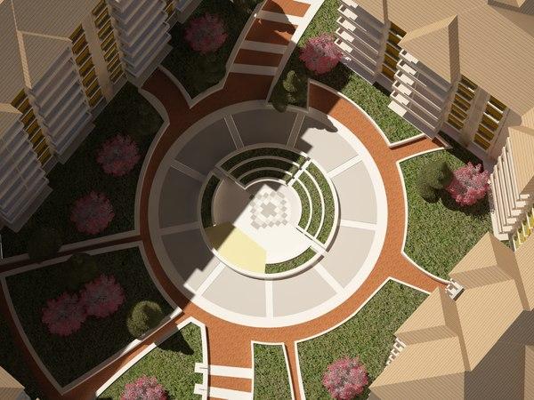 landscape area housing 3D model