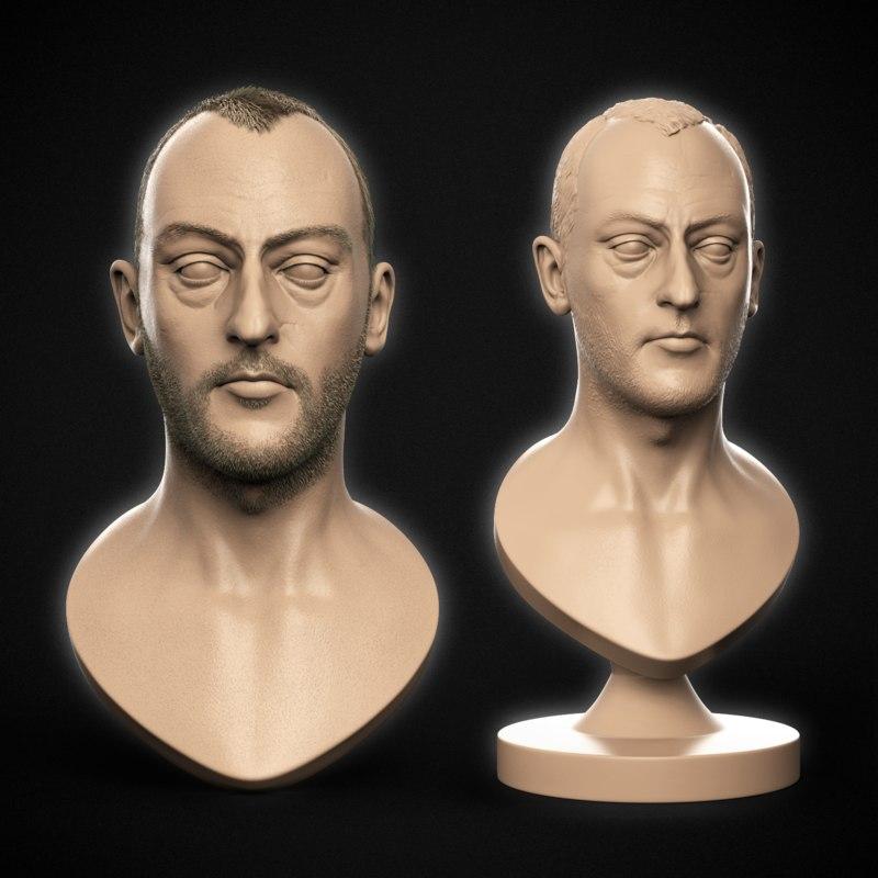 3D jean reno bust ready model