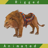 lion rigged animations 3D
