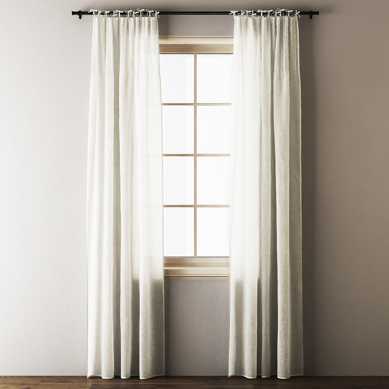 3D tie-top linen curtains model
