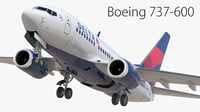 3D boeing 737-600 delta airlines