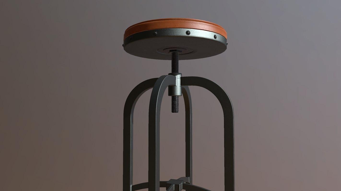 adjustable height stool 3D model