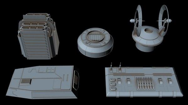 3D starship greeble 6 model