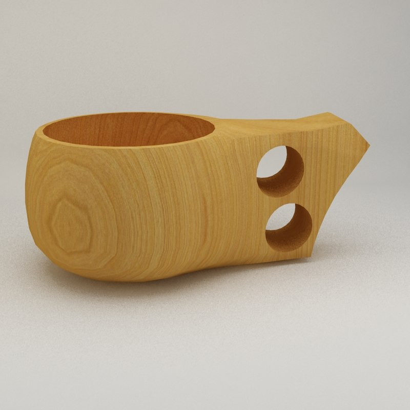 coffee cup wood 3D model
