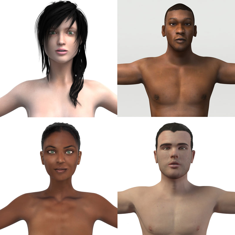 3D pack rigged man woman model