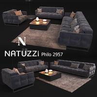 Sofa in modern style, NATUZZI Philo 2957