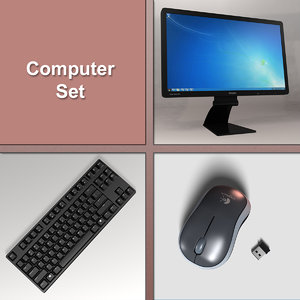 3D model computer set monitor keyboard