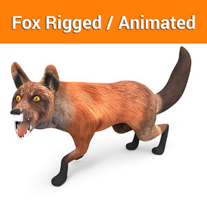 3D fox rigged animation