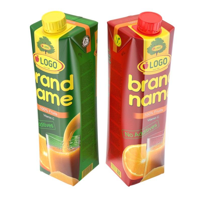 3D juice carton model