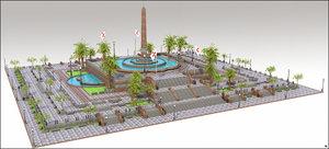 square plaza 3D model