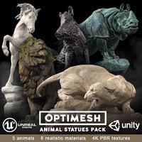 Animal Statues 3D PBR AR VR Pack horse boar rhino puma lion
