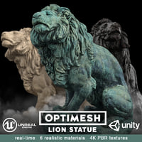 Lion Statue - 3D PBR AR VR model